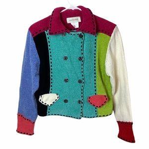 Women's Vintage Multicolor Colorblock Patchwork Chenille Cardigan Sweater S/M